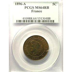 Numismatic foto  Coins Coins of France 1793-1959 5 Centimes G.157a   Cérès 1896 A (Paris) torche    PCGS-MS64RB    pr.FDC