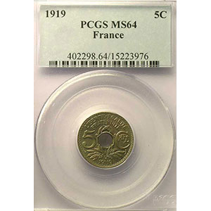 Numismatic foto  Coins Coins of France 1793-1959 5 Centimes G.169   Lindauer grand module 1919    PCGS-MS64    pr.FDC