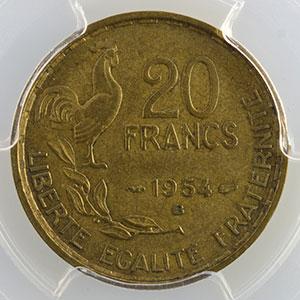Numismatic foto  Coins Coins of France 1793-1959 20 Francs G.865   G.Guiraud 1954 B  (Beaumont le Roger)    PCGS-AU58    SUP