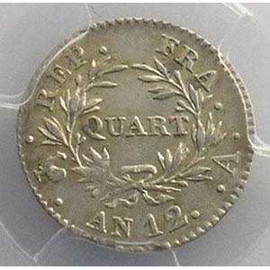 Numismatic foto  Coins Coins of France 1793-1959 1/4 Franc G.342   Bonaparte Premier Consul An 12 A  (Paris)    PCGS-AU55    TTB+/SUP