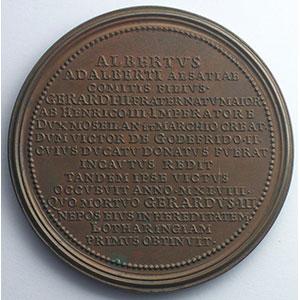 Numismatic foto  Coins Coins of Lorraine Medals Ferd. de Saint Urbain   série des Ducs de Lorraine Albert   bronze   47 mm    SUP
