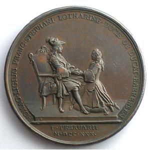 Numismatic foto  Coins Coins of Lorraine Medals François III   (1729-1736) DU VIVIER   Le Duc François III rendant hommage au roi Louis XV   I fév. 1730   bronze   41mm    TTB+/SUP