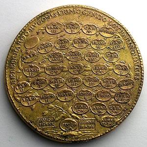Numismatic foto  Coins Coins of Lorraine Medals Ferd. de Saint Urbain   série des Ducs de Lorraine Eberhard   bronze doré   47,5 mm    TB+/TTB