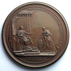 Numismatic foto  Coins Coins of Lorraine Medals Elisabeth-Charlotte régente Ferdinand de SAINT-URBAIN   Hommage de la Lorraine 1729   bronze  57 mm    TTB+/SUP