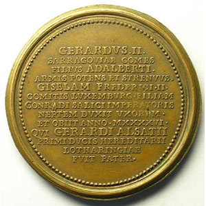 Numismatic foto  Coins Coins of Lorraine Medals Ferd. de Saint Urbain   série des Ducs de Lorraine Gérard II   bronze   47 mm    TTB