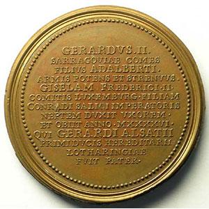 Numismatic foto  Coins Coins of Lorraine Medals Ferd. de Saint Urbain   série des Ducs de Lorraine Gérard II   bronze   47 mm    TTB+