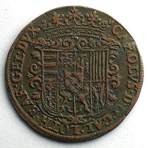 Numismatic foto  Coins Coins of Lorraine Duchy of Lorraine Charles III   (1545-1608) Jeton rond en cuivre   28mm   1594    TTB