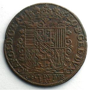 Numismatic foto  Coins Coins of Lorraine Duchy of Lorraine Charles III   (1545-1608) Jeton rond en cuivre   28mm   1594    TTB+