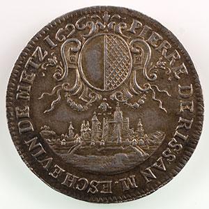 Numismatic foto  Coins Coins of Lorraine City of Metz Jetons de maîtres échevins Pierre de Rissan   (1692-1712)   1696   argent    TTB+/SUP