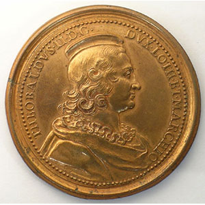 Numismatic foto  Coins Coins of Lorraine Medals Ferd. de Saint Urbain   série des Ducs de Lorraine Thiebault II   bronze   47 mm    SUP