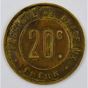 Numismatic foto  Coins Emergency coins and tokens CORBEILLES-ESSONNES (91) Fabrique de Chapeaux, C&C&B 20 c   Lt, R  23mm    TTB