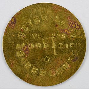 Numismatic foto  Coins Emergency coins from Alsace-Lorraine SAARBURG (Sarrebourg) (57) Syndicat d'Entrepositaires et Limonadiers 1 F   R, Lt  29mm   Seyer Louis contremarqué L    TB+
