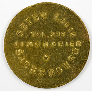 Numismatic foto  Coins Emergency coins from Alsace-Lorraine SAARBURG (Sarrebourg) (57) Syndicat d'Entrepositaires et Limonadiers 1 F   R, Lt  29mm   Seyer Louis    TTB