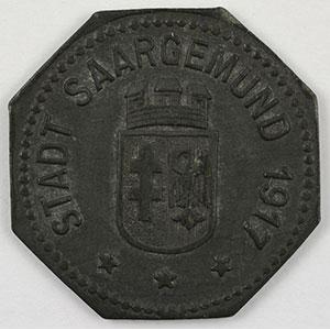 Numismatic foto  Coins Emergency coins from Alsace-Lorraine SAARGEMUND (Sarreguemines) (57) Stadt 10 (pf)   1917   Zn,8   21 mm   TTB+