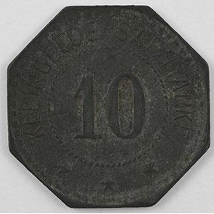 Numismatic foto  Coins Emergency coins from Alsace-Lorraine BUSENDORF (Bouzonville) (57) Lothringer Walzengiesserei Busendorf 10 (pf)   Zn,8   21mm    TTB