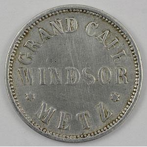 Numismatic foto  Coins Emergency coins from Alsace-Lorraine METZ (57) Grand Café WINDSOR 15 (Pf)   Al, R   21,5 mm   TB+