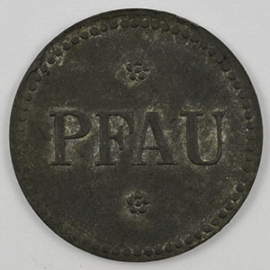 Numismatic foto  Coins Emergency coins from Alsace-Lorraine HAYINGEN (Hayange) (57) Pfau Flaschenpfand 10 (Pf)   Zn, R 20mm    TTB