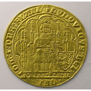 Numismatic foto  Coins Feudal coins County of Flanders Louis de Mâle   (1346-1384) Chaise d'or au lion    TTB