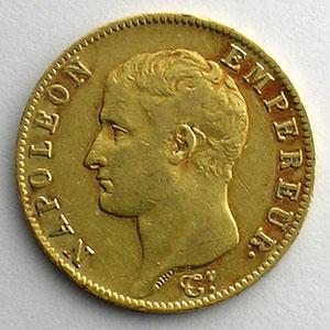 Numismatic foto  Coins French gold coins 20 Francs G.1023   20 Francs Napoléon I, tête nue 1806 A  (Paris)    TTB