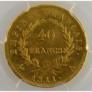 Numismatic foto  Coins French gold coins 40 Francs G.1084   40 Francs Napoléon I 1811 A  (Paris)    PCGS-MS64+    pr.FDC