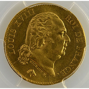 Numismatic foto  Coins French gold coins 40 Francs G.1092   40 Francs Louis XVIII 1818 W  (Lille)    PCGS-MS63    SUP/FDC