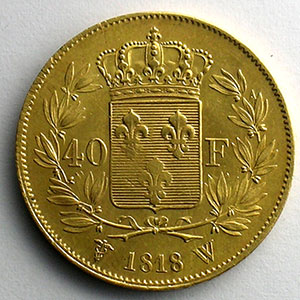 Numismatic foto  Coins French gold coins 40 Francs G.1092   40 Francs Louis XVIII 1818 W  (Lille)    pr.SUP