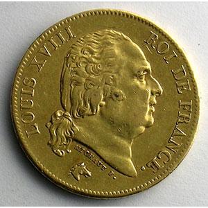 Numismatic foto  Coins French gold coins 40 Francs G.1092   40 Francs Louis XVIII 1818 W  (Lille)    TTB