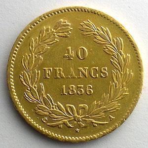Numismatic foto  Coins French gold coins 40 Francs G.1106   40 Francs Louis-Philippe I 1836 A  (Paris)    TTB+