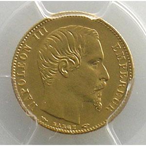Numismatic foto  Coins French gold coins 5 Francs G.1000   5 Francs Napoléon III, petit module 1854 A  (Paris)  tranche cannelée    PCGS-AU58    SUP