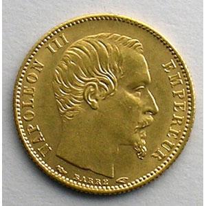 Numismatic foto  Coins French gold coins 5 Francs G.1000   5 Francs Napoléon III, petit module 1854 A  (Paris)  tranche cannelée    SUP
