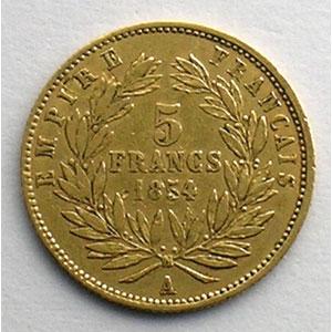 Numismatic foto  Coins French gold coins 5 Francs G.1000   5 Francs Napoléon III, petit module 1854 A  (Paris)  tranche cannelée    TB