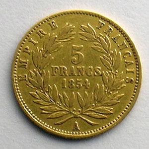 Numismatic foto  Coins French gold coins 5 Francs G.1000   5 Francs Napoléon III, petit module 1854 A  (Paris)  tranche cannelée    TTB