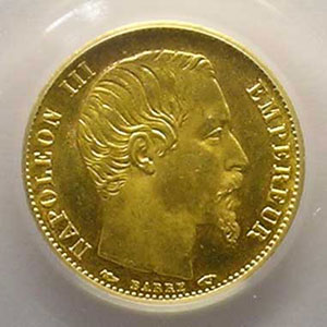 Numismatic foto  Coins French gold coins 5 Francs G.1000   5 Francs Napoléon III, petit module 1854 A  (Paris)  tranche lisse    PCGS-MS64    pr.FDC
