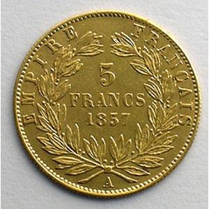 Numismatic foto  Coins French gold coins 5 Francs G.1001   5 Francs  Napoléon III, grand module 1857 A  (Paris)    TTB