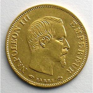 Numismatic foto  Coins French gold coins 10 Francs G.1014   10 Francs  Napoléon III, grand module 1858 A  (Paris)    TTB