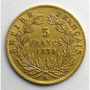 Numismatic foto  Coins French gold coins 5 Francs G.1001   5 Francs  Napoléon III, grand module 1859 BB  (Strasbourg)    TTB/TTB+