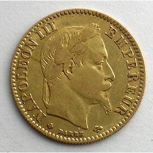 Numismatic foto  Coins French gold coins 10 Francs G.1015   10 Francs  Napoléon III, tête laurée 1863 BB  (Strasbourg)    TB+/TTB