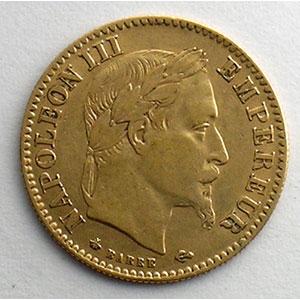 Numismatic foto  Coins French gold coins 10 Francs G.1015   10 Francs  Napoléon III, tête laurée 1865 A  (Paris)    TB+