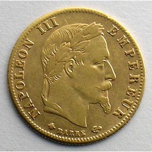 Numismatic foto  Coins French gold coins 5 Francs G.1002   5 Francs  Napoléon III, tête laurée 1866 A  (Paris)    TTB+