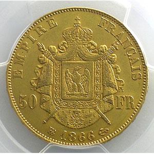 Numismatic foto  Coins French gold coins 50 Francs G.1112   50 Francs Nap.III, tête laurée 1866 BB  (Strasbourg)    PCGS-AU58    SUP