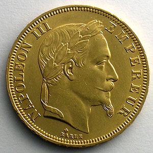 Numismatic foto  Coins French gold coins 50 Francs G.1112   50 Francs Nap.III, tête laurée 1866 BB  (Strasbourg)    SUP