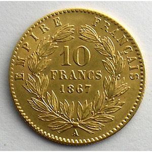 Numismatic foto  Coins French gold coins 10 Francs G.1015   10 Francs  Napoléon III, tête laurée 1867 A  (Paris)    TTB+