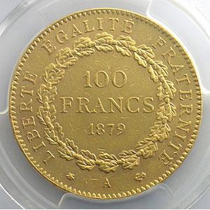 Numismatic foto  Coins French gold coins 100 Francs G.1137   100 Francs Génie 1879 A  (Paris) ancre barrée    PCGS-AU58    SUP