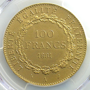 Numismatic foto  Coins French gold coins 100 Francs G.1137   100 Francs Génie 1881 A  (Paris)    PCGS-MS63    SUP/FDC
