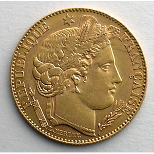 Numismatic foto  Coins French gold coins 10 Francs G.1016   10 Francs  Cérès, III° république 1896 A  (Paris)    TTB+/SUP