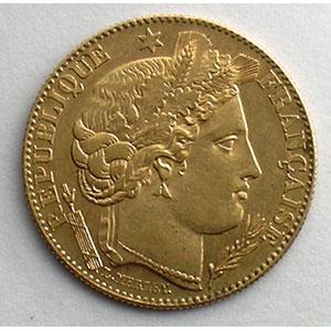 Numismatic foto  Coins French gold coins 10 Francs G.1016   10 Francs  Cérès, III° république 1896 A  (Paris)    TTB+