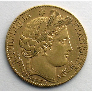 Numismatic foto  Coins French gold coins 10 Francs G.1016   10 Francs  Cérès, III° république 1899 A  (Paris)    TTB