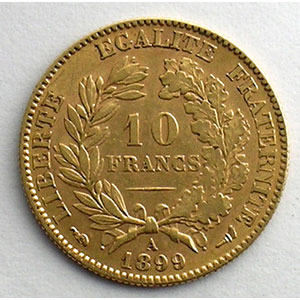Numismatic foto  Coins French gold coins 10 Francs G.1016   10 Francs  Cérès, III° république 1899 A  (Paris)    TTB+