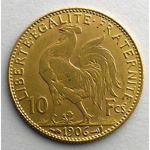 Numismatic foto  Coins French gold coins 10 Francs G.1017   10 Francs  Marianne 1906    TTB+