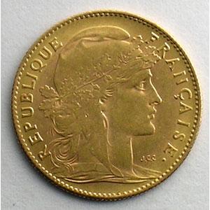 Numismatic foto  Coins French gold coins 10 Francs G.1017   10 Francs  Marianne 1908    TTB+